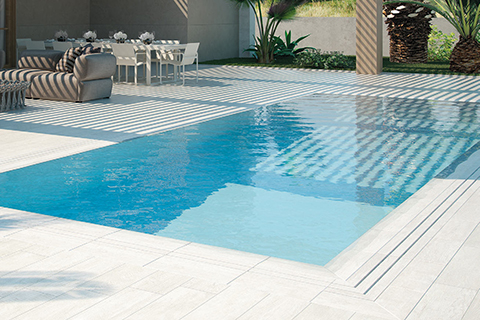 Dlažba na ochoz bazénu POOL SOLUTION - RAINFOREST BLANCO